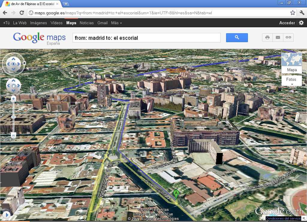 Detailed aerial 3D view from real buildings in Madrid