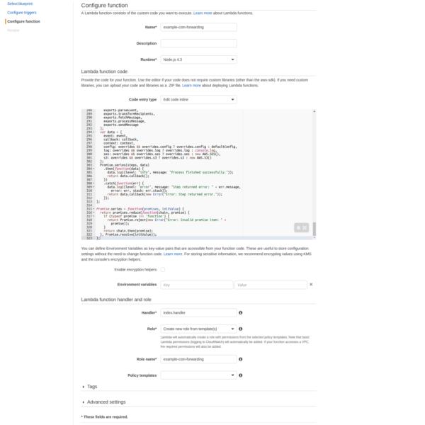 Configuración función Lambda para reenvío de correo