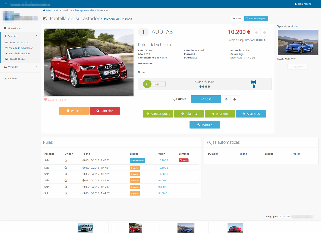 Aplicación web para subastas de coches online y presenciales