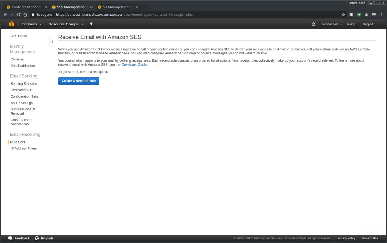 Creación de regla de recepción en Amazon SES - paso 0