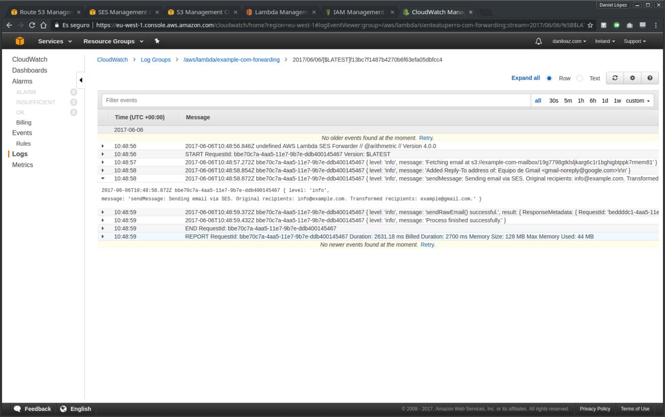 Depuración mensajes de log en CloudWatch