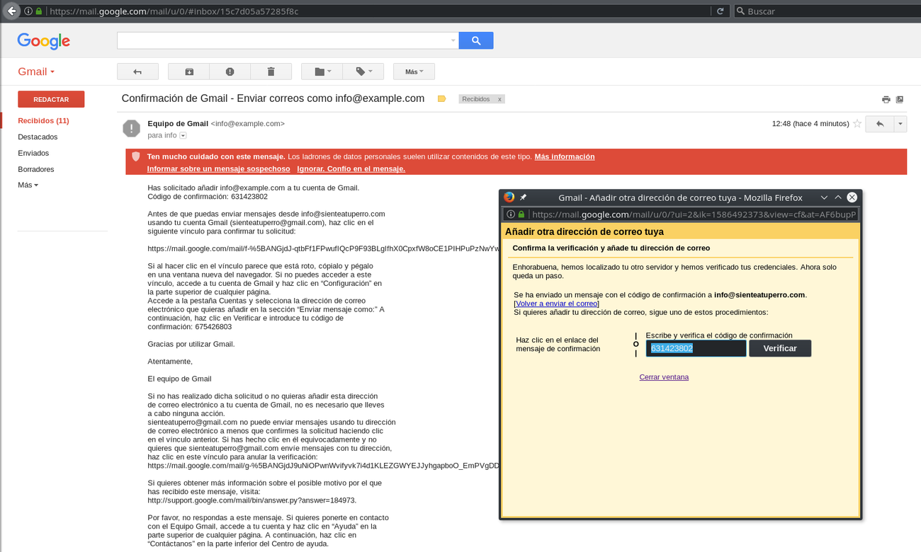 GMail new address verification code
