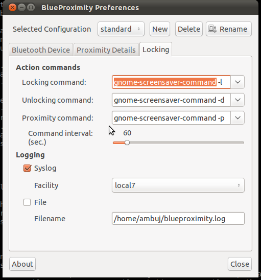 BlueProximity preferences: locking/unlocking commands