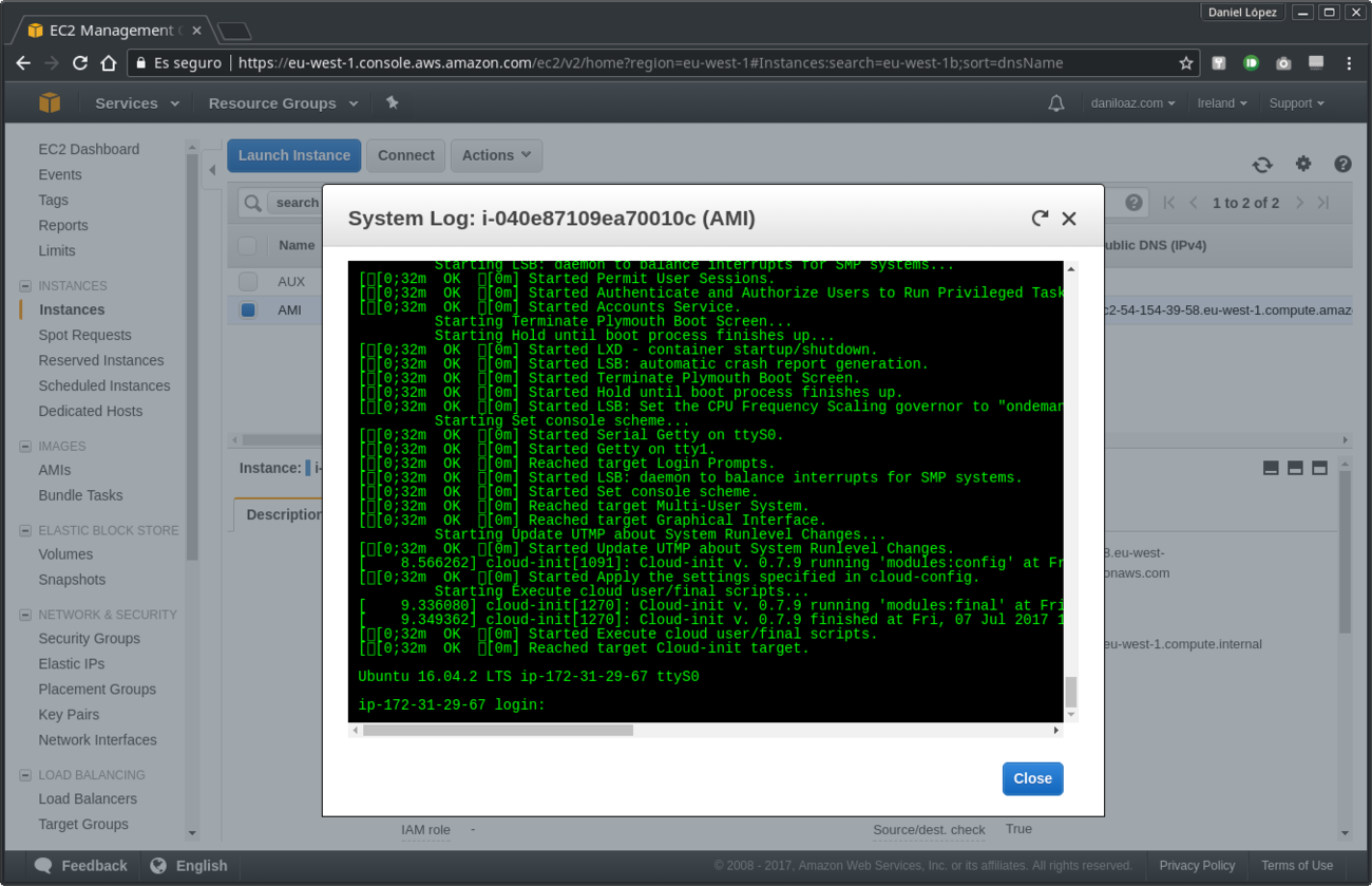 System log of EC2 instance successfully started
