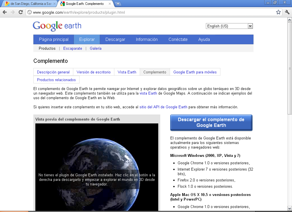 It is necessary to download Google Earth plug-in for this feature to work