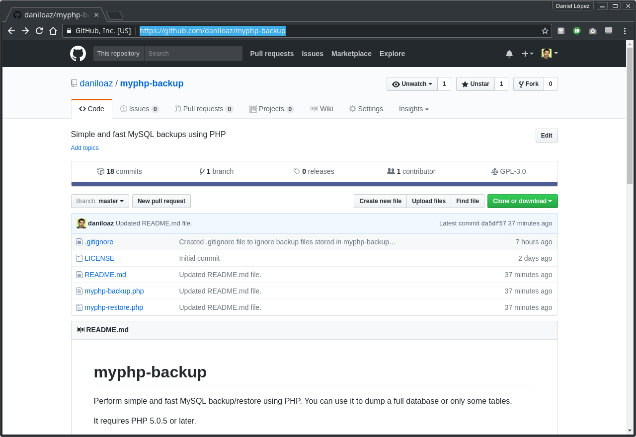 daniloaz-myphp-backup: Simple and fast MySQL backups using PHP