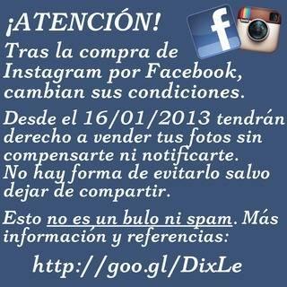 Compartir aviso nuevos término y condiciones Instagram-Facebook