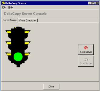DeltaCopy configuration console - start server