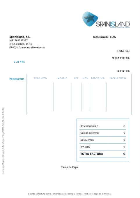 Spanisland PDF Invoice Template