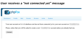 User not connected yet message