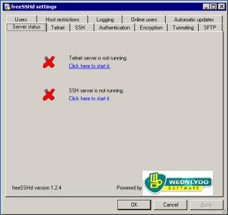 freeSSHd: start/stop SSH service