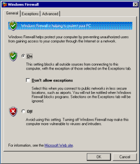 Windows firewall configuration dialog