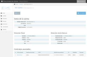 Datos del módulo Cuentas de SugarCRM