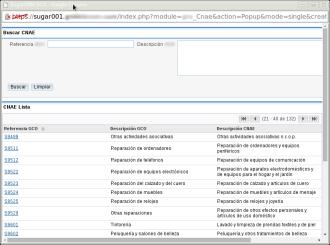 Módulo maestro de gestión de códigos CNAE
