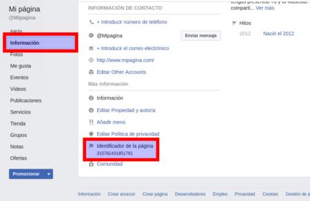 Método de obtención del identificador de una página de Facebook - Paso 2