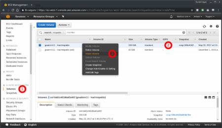Vincular volumen a instancia desde la consola de AWS - Paso 1
