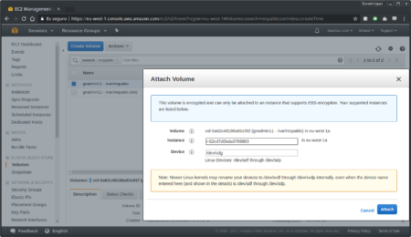Vincular volumen a instancia desde la consola de AWS - Paso 2