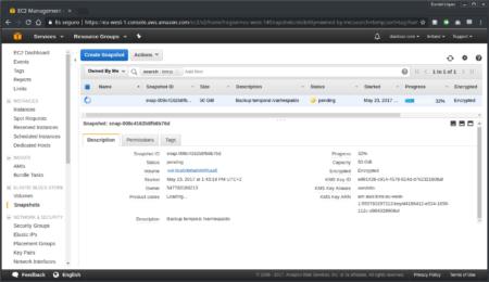 Progreso de la creación de un snapshot desde la consola de AWS