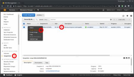 Creación de volúmen a partir de snapshot desde la consola de AWS - Paso 1
