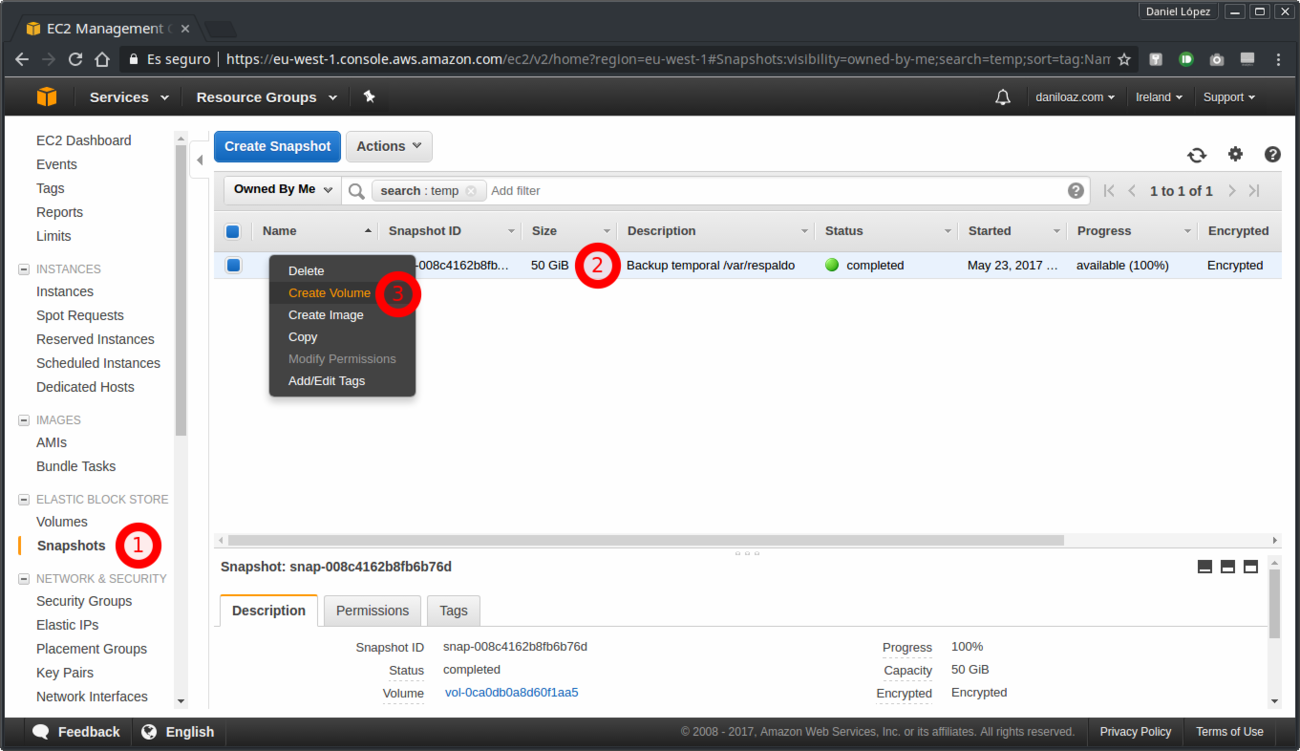 How to enlarge the size of an EBS volume in AWS and extend an ext4