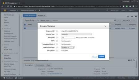 Creación de volúmen a partir de snapshot desde la consola de AWS - Paso 2