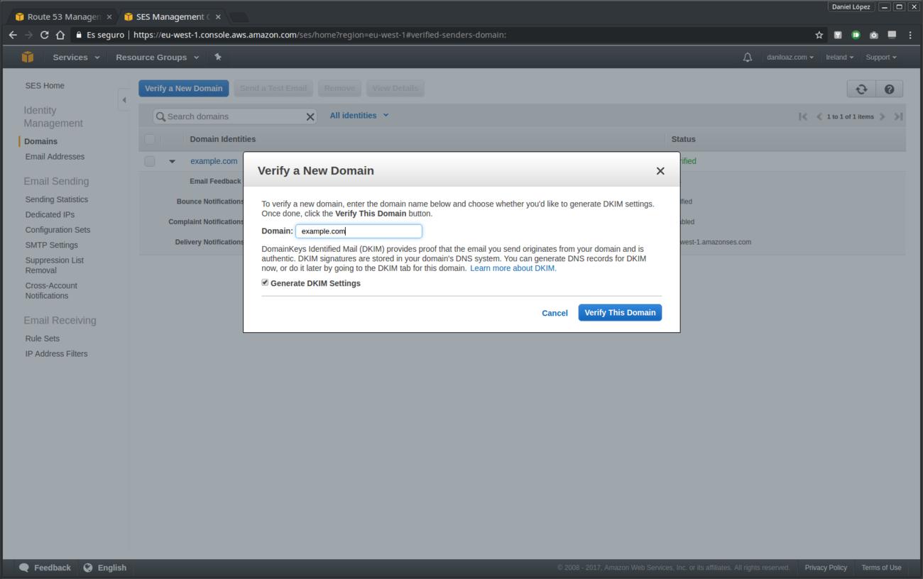 Verificación de dominio en Amazon SES