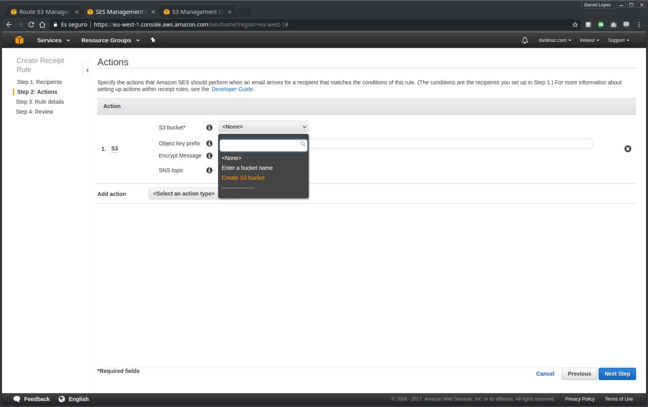 Creación de acciones de regla de recepción Amazon SES