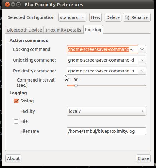 Preferencias de BlueProximity: comandos de bloqueo