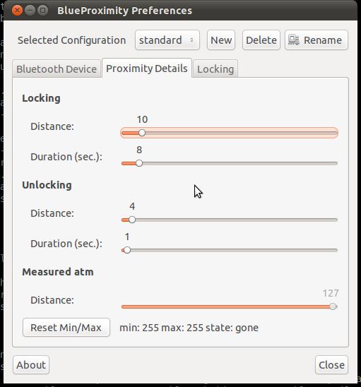 BlueProximity preferences: proximity details